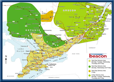 Beacon Ontario and Quebec Service Area Map